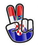Hippy Style PEACE Hand With Croatia Croatian Country Flag Motif External Vinyl Car Sticker 90x65mm